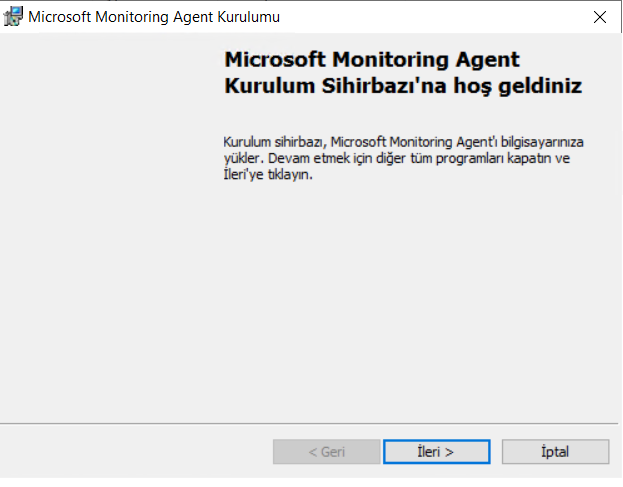 """Microsoft Monitoring Agent Kurulumu  Microsoft Monitoring Agent  Kurulum Sihirbazł'na hos geldiniz  KurtArn ôrbaz, hcrosoft Agent"""" bbsayarnza  . Devarn etrnek Ún xc.grMrd&1 ve  iptä"""