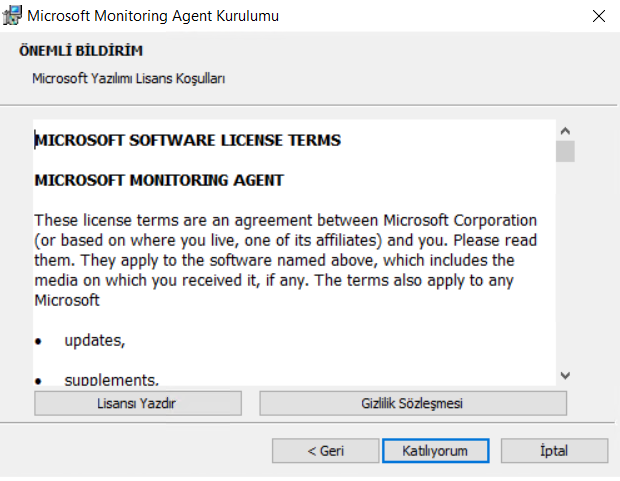 """Microsoft Monitoring Agent Kurulumu  BiLDiRiH  %aosoft Luz  """"ICROSOFT SOFTWARE UCENSE TERMS  MICROSOFT MONITORING AGENT  terms are an agreement beüeen Corporation  (or based on where you live, one of its affiliates) and you. Please read  them. They apply to the named above, which indudes the  media on which you received it, if any. The terms apply to any  • updates,  • suoolements."""